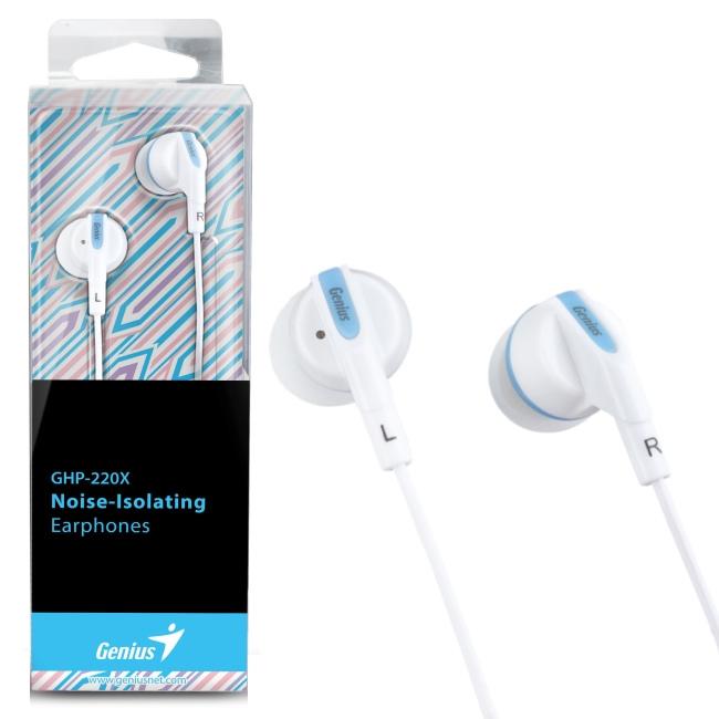 Genius GHP-220X 奢華酷炫內耳抗噪式耳機(藍色)